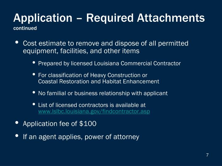 Application – Required Attachments