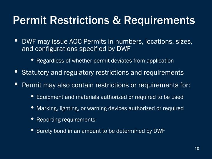 Permit Restrictions & Requirements