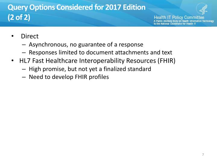 Query Options Considered for 2017 Edition