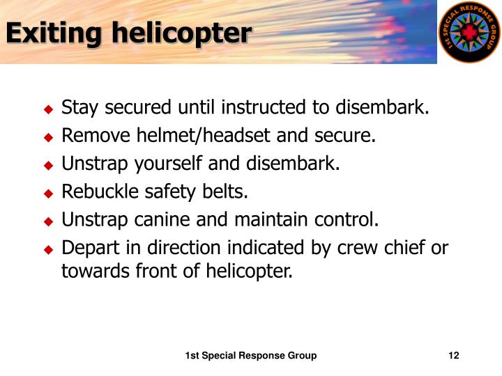 Exiting helicopter