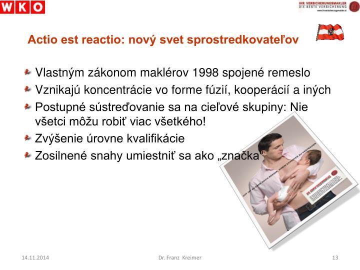 Actio est reactio: nový svet sprostredkovateľov