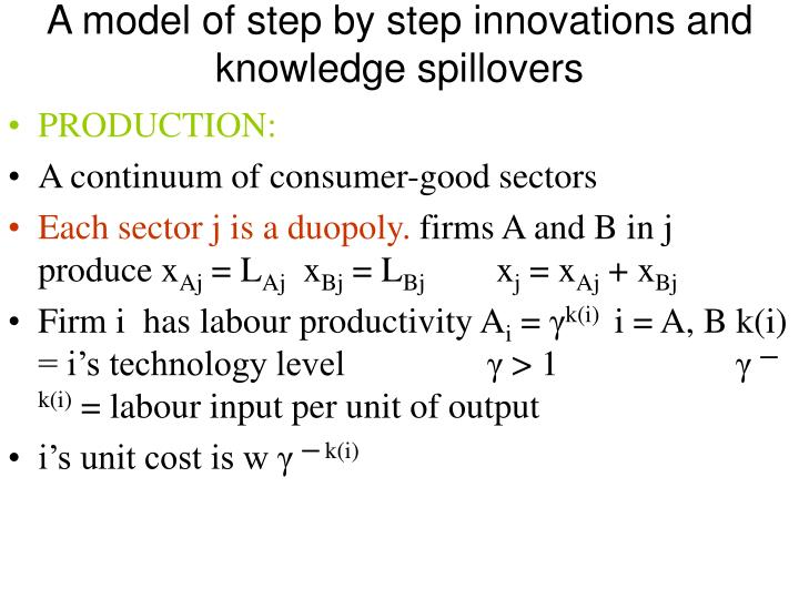 A model of step by step innovations and knowledge spillovers