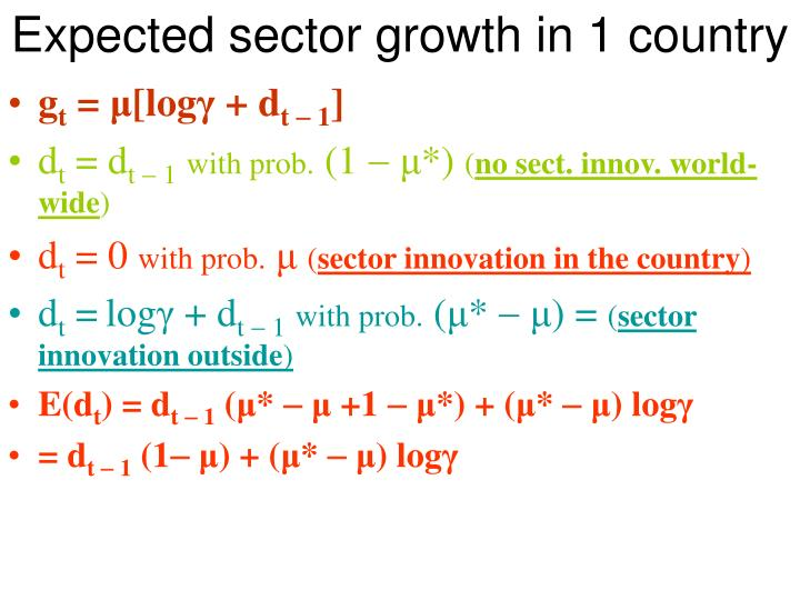 Expected sector growth in 1 country