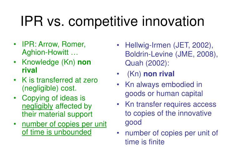 IPR: Arrow, Romer, Aghion-Howitt …