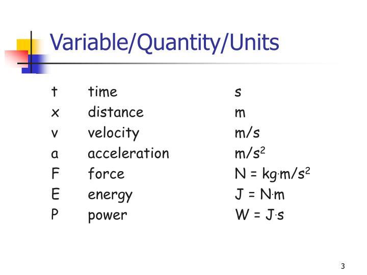 Variable/Quantity/Units