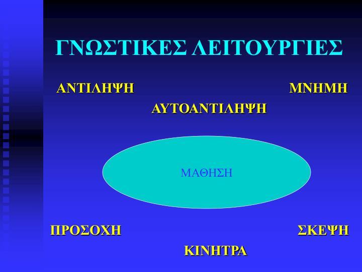 ΓΝΩΣΤΙΚΕΣ ΛΕΙΤΟΥΡΓΙΕΣ