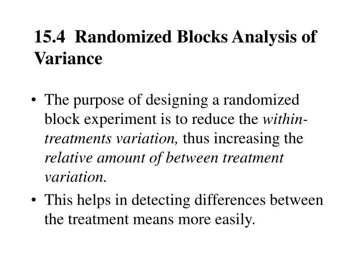 15.4  Randomized Blocks Analysis of Variance
