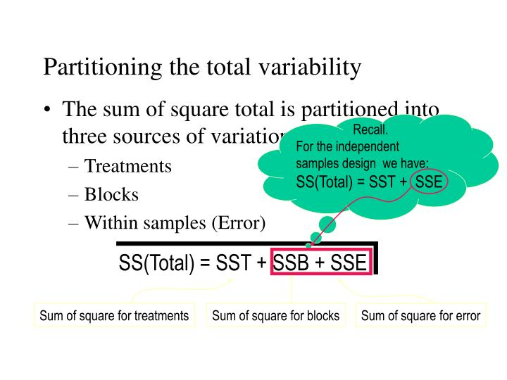 Sum of square for treatments