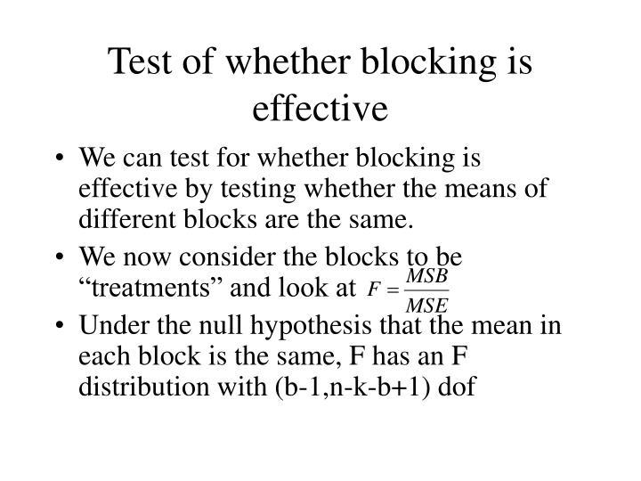 Test of whether blocking is effective