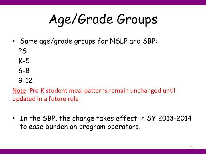 Age/Grade Groups