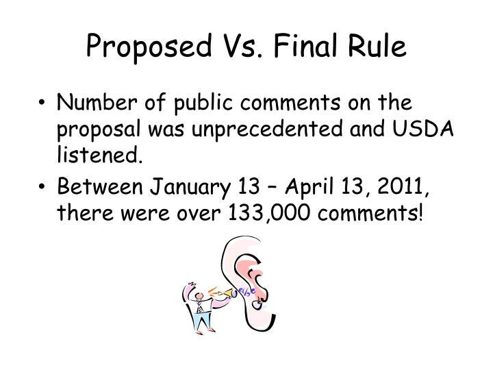 Proposed Vs. Final Rule