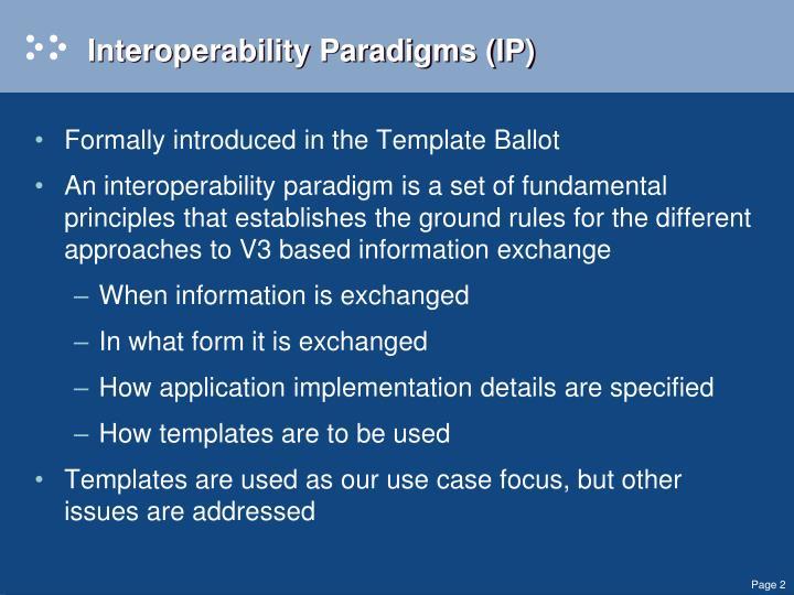 Interoperability Paradigms (IP)