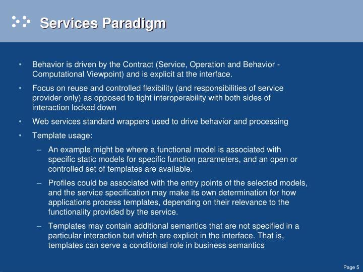 Services Paradigm
