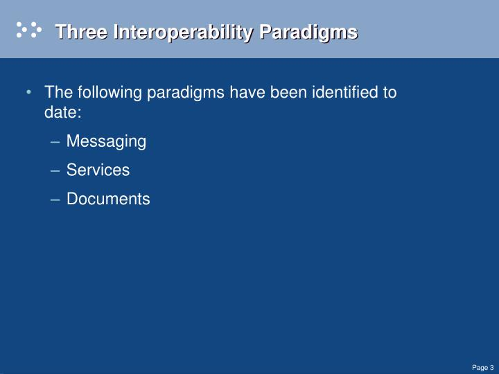 Three Interoperability Paradigms