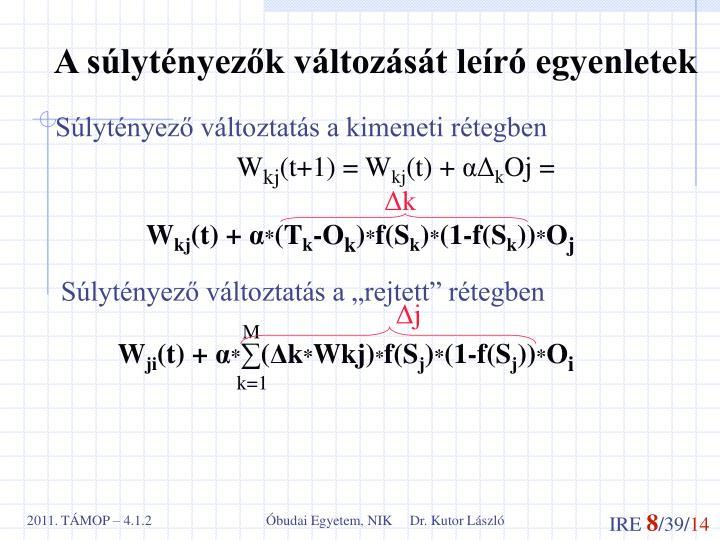 A súlytényezők változását leíró egyenletek