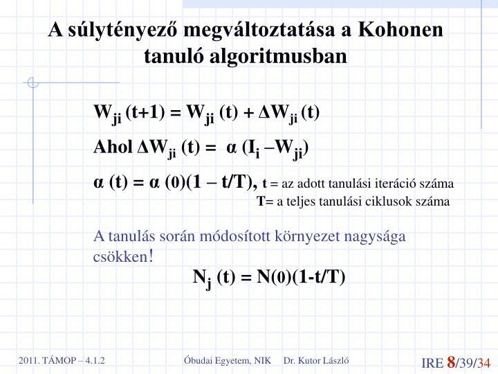 A súlytényező megváltoztatása a Kohonen tanuló algoritmusban