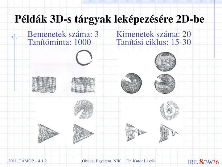 Példák 3D-s tárgyak leképezésére 2D-be