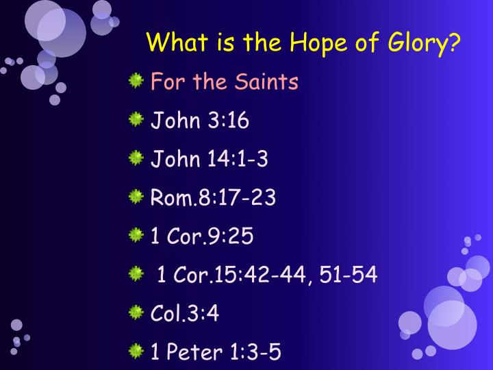 What is the Hope of Glory?
