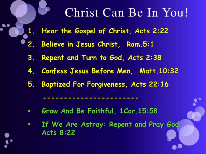 Christ Can Be In You!
