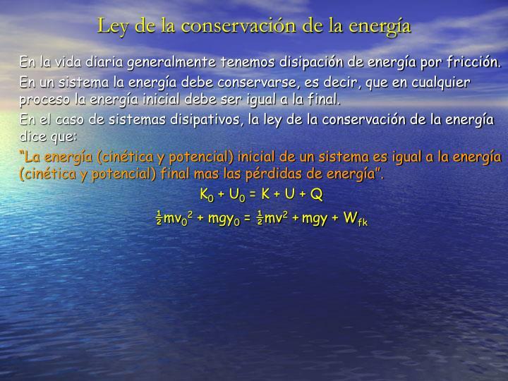 Ley de la conservación de la energía