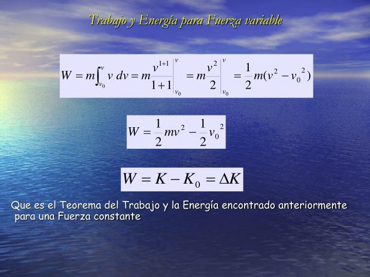 Trabajo y Energía para Fuerza variable