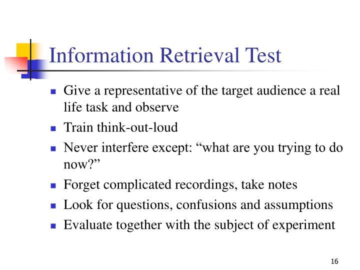 Information Retrieval Test