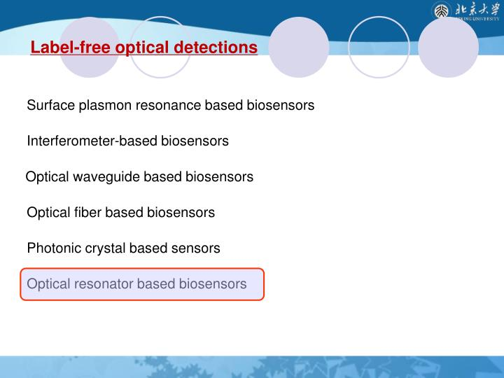 Label-free optical detections