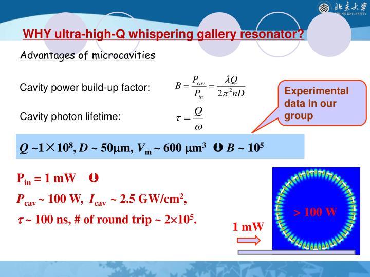 WHY ultra-high-Q whispering gallery resonator?