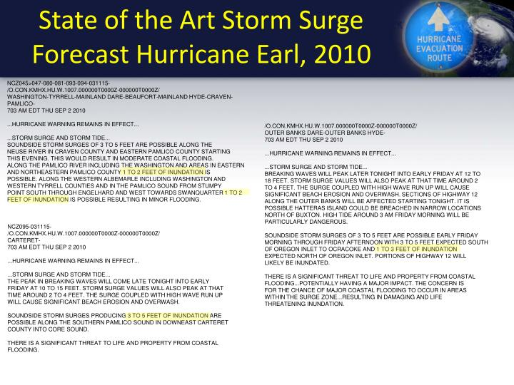 State of the Art Storm Surge Forecast Hurricane Earl, 2010