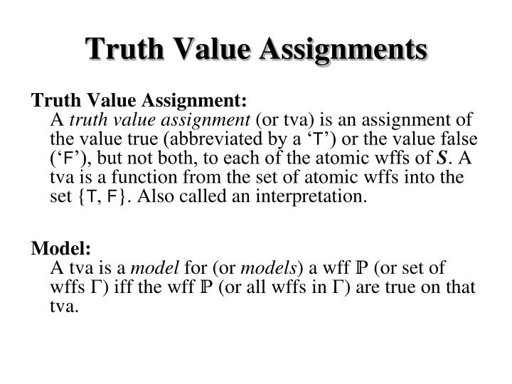 Truth Value Assignments