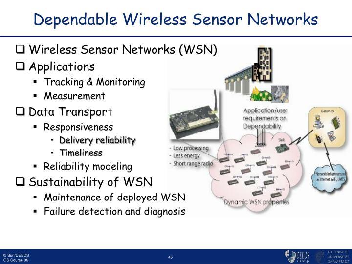 Dependable Wireless Sensor Networks