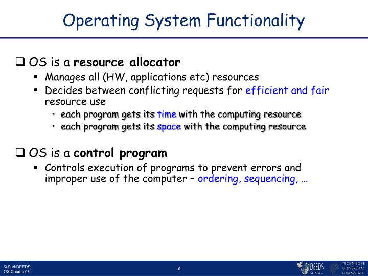 Operating System Functionality