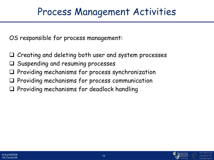 Process Management Activities
