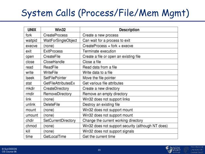 System Calls (Process/File/Mem Mgmt)