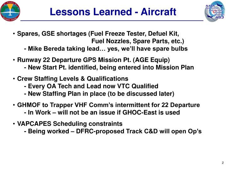 Lessons Learned - Aircraft