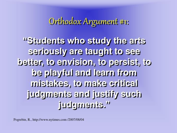 Orthodox Argument #1: