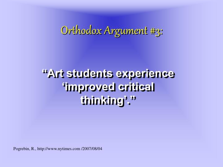 Orthodox Argument #3:
