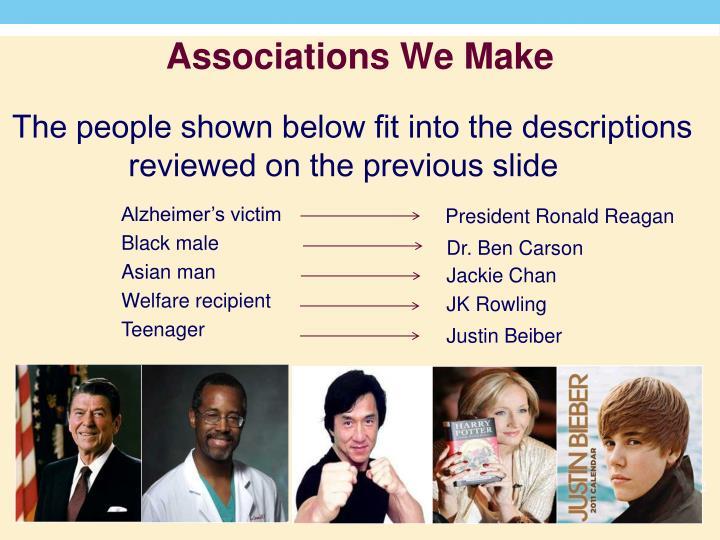 Associations We Make