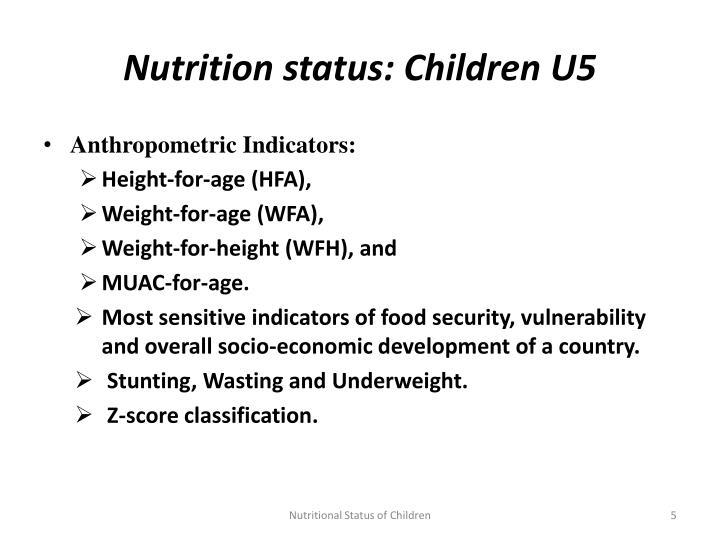 Nutrition status: Children U5