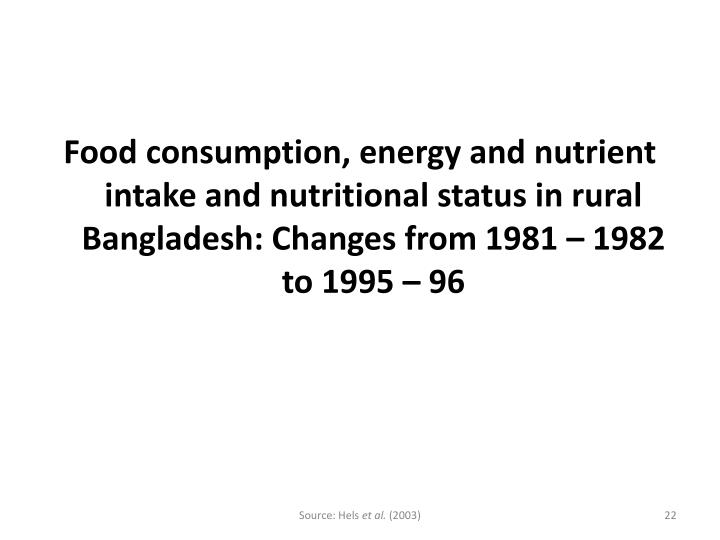 Food consumption, energy and nutrient intake and nutritional status in rural Bangladesh: Changes from 1981 – 1982 to 1995 – 96