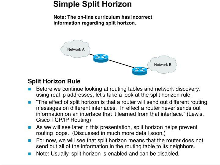 Note: The on-line curriculum has incorrect information regarding split horizon.
