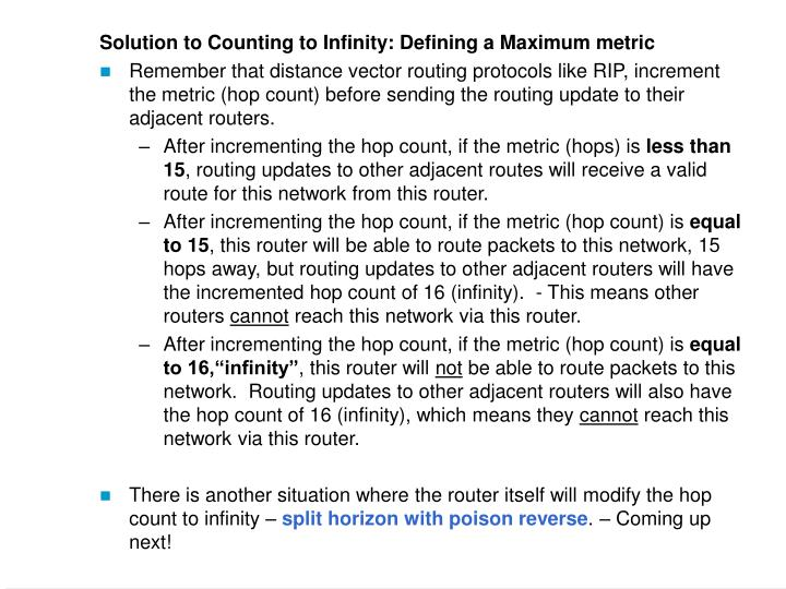 Solution to Counting to Infinity: Defining a Maximum metric
