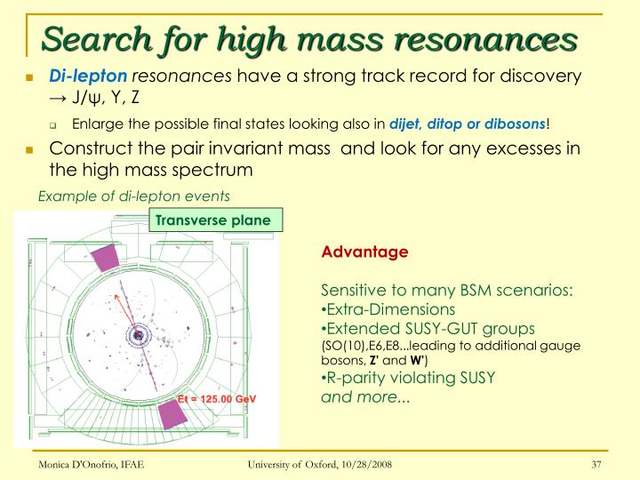Search for high mass resonances