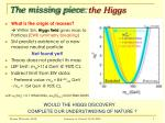 the missing piece the higgs