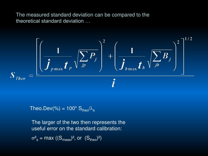 The measured standard deviation can be compared to the theoretical standard deviation …