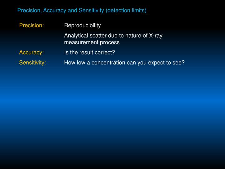Precision, Accuracy and Sensitivity (detection limits)