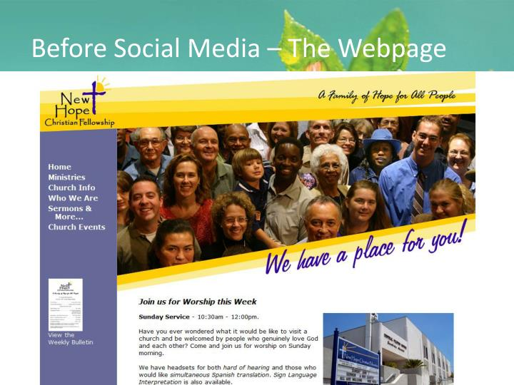 Before Social Media – The Webpage