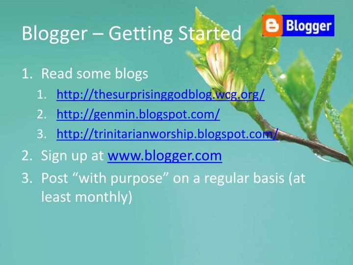 Blogger – Getting Started