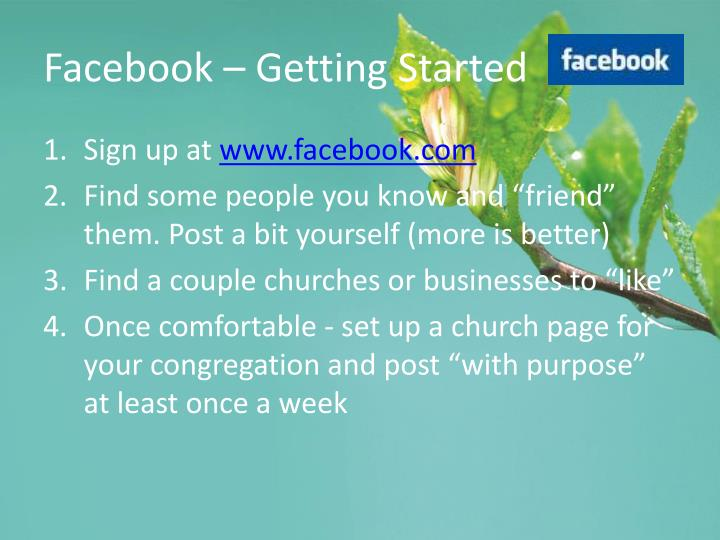 Facebook – Getting Started