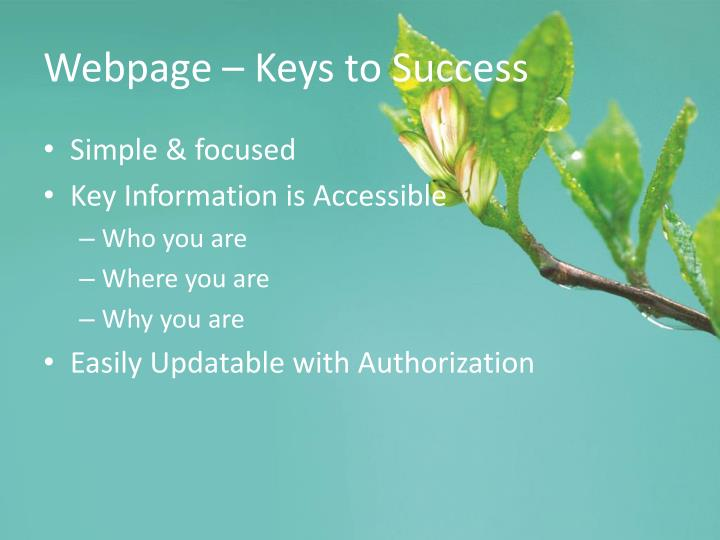Webpage – Keys to Success